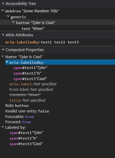 Chrome DevTools, using aria-labelledby to show multiple references applied